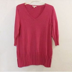 Eileen Fisher Pink V-neck Cashmere Blend  Sweater